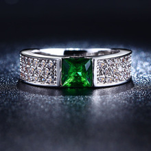 S925 sterling silver Jewelry wedding rings For Women fashion Bijoux Ruby Emerald Green gem CZ Diamond ring Classic new FTSR2106