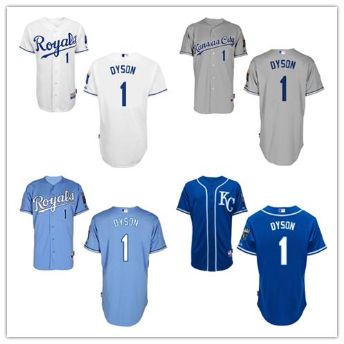 Fans 1 Jarrod Dyson Jersey 2015 Baseball Kansas City Royals Jersey Blue Grey White Dyson Jersey(China (Mainland))