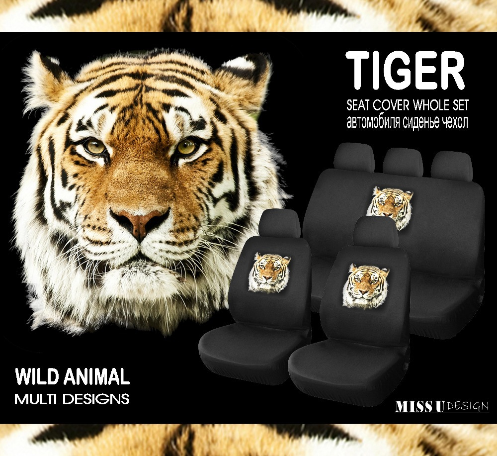 CAR SEAT COVER WITH COOL TIGER PRINTING LOGO UNIVERSAL SIZE WHOLE SET 9PCS INTERIOR ACCESSORIES FREE SHIPPING(China (Mainland))