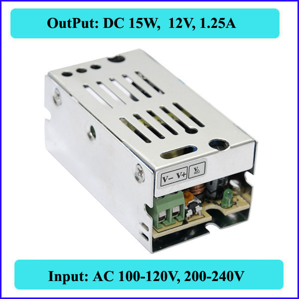 15W 12V 1.25A Small Volume Single Output Switching Power Supply LED Strip Light Display Mini AC110-240V - QX Store store