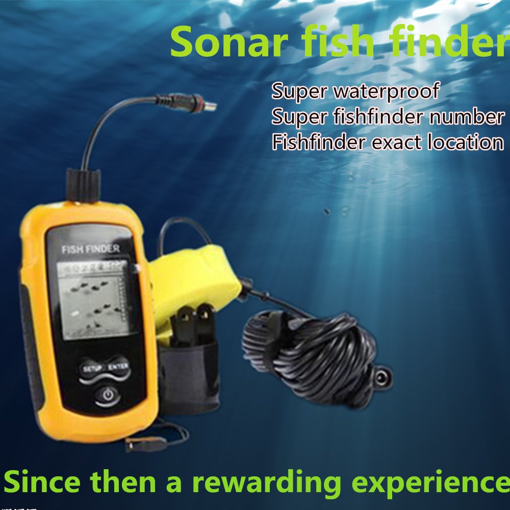 High-quality waterproof portable fish finder sonar detector alarm sensor 0.6 m -100 m echo sounder wired LCD ap electronic gear(China (Mainland))