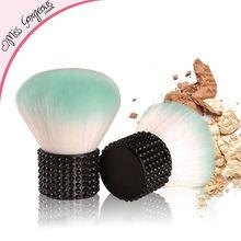 Popular Portable Mini Synthetic Kabuki Makeup Brushes Short Black Rhinestone Metal Handle Cosmetic Brush for Beauty Make Up