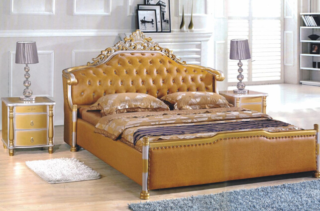modern style king size golden yellow Leather beds bedroom furniture from China market(China (Mainland))