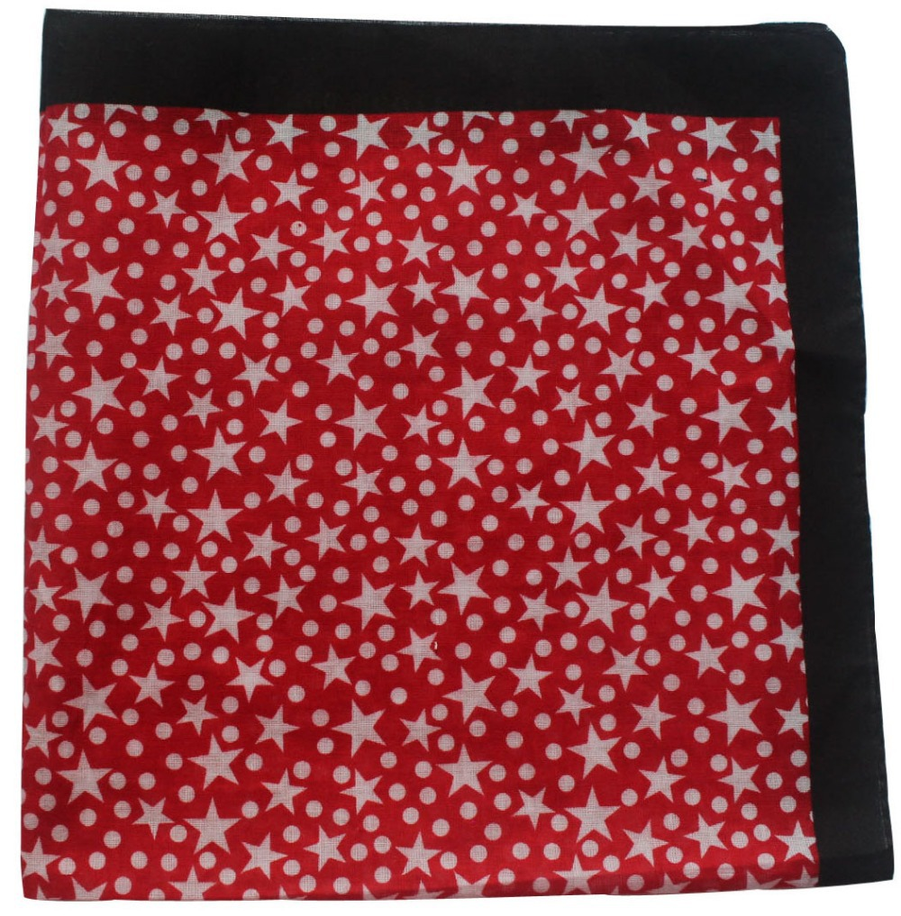 Free Shipping 2015 100% Cotton White Red Star Dot Bandanas Headband For Women Men(China (Mainland))