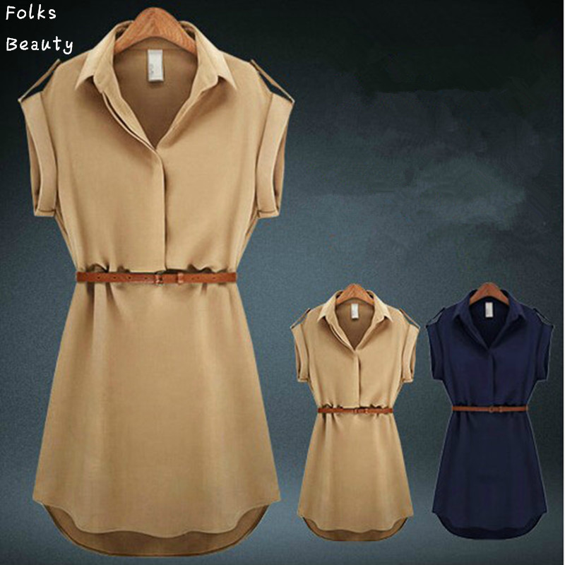 Plus Size Women Dress Summer 2015 V Neck Short A Line Solid Plus Size Chiffon Casual