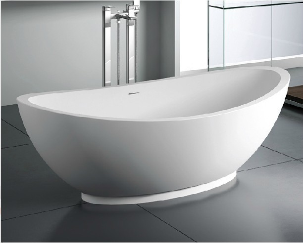 Bathroom bath free standing solid surface bathtub stone for Free standing soaking tub