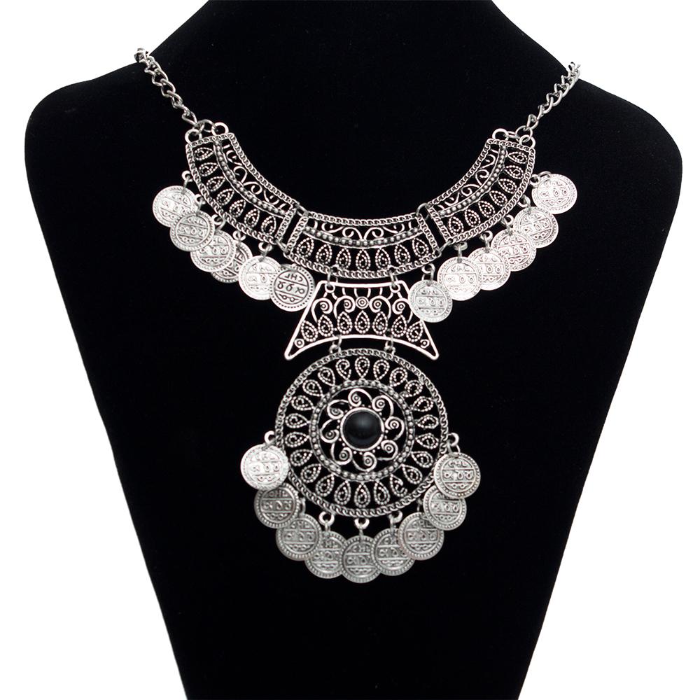 2015 vintage big gem Statement bohemian necklace fine jewelry fashion collar choker tassel coin gypsy ethnic maxi necklace women(China (Mainland))