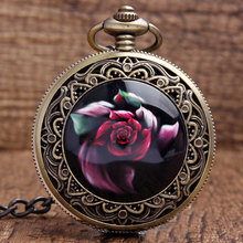 New Arrival Cool Bronze Red Beautiful flowers Quartz Pocket Watch Pendant FOB Chain Women Men's Boy Best Gifts P340(China (Mainland))