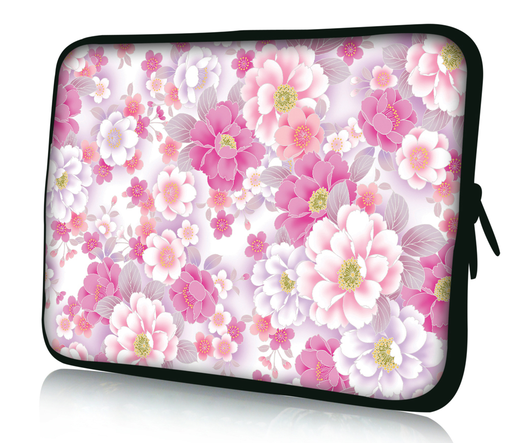 "Free Shipping Pink Flower 10"" Laptop Bag Sleeve Case Pouch For 10.1"" Samsung Galaxy Tab/Apple iPad 4 3 2 1(China (Mainland))"