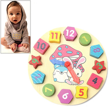 Free shipping Baby Educational Bricks Toy clock 12 Colorful Number Puzzle Toy #71180(China (Mainland))
