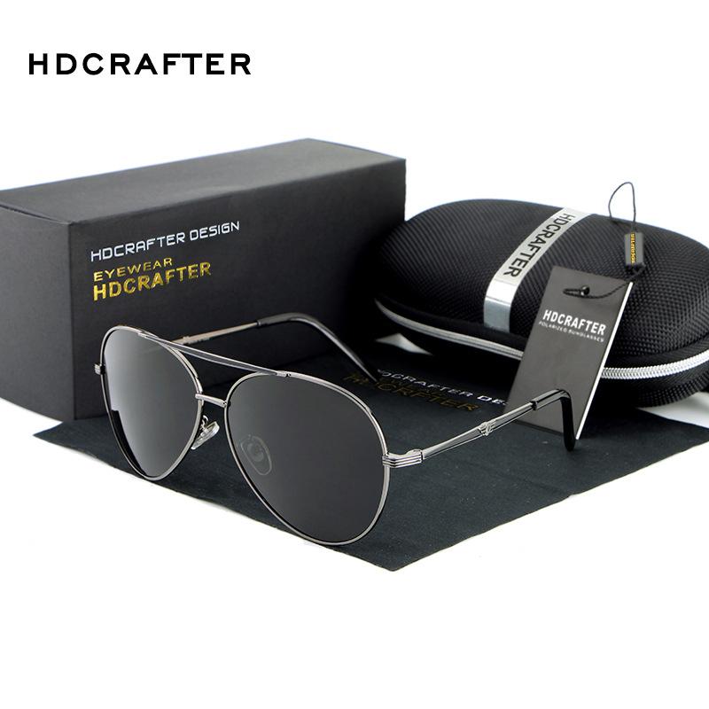 HDCRAFTER Polarized Sunglasses Men Pilot Polaroid Lens Titanium Frame Driver Sunglasses Brand Design Original Box Men Oculos(China (Mainland))