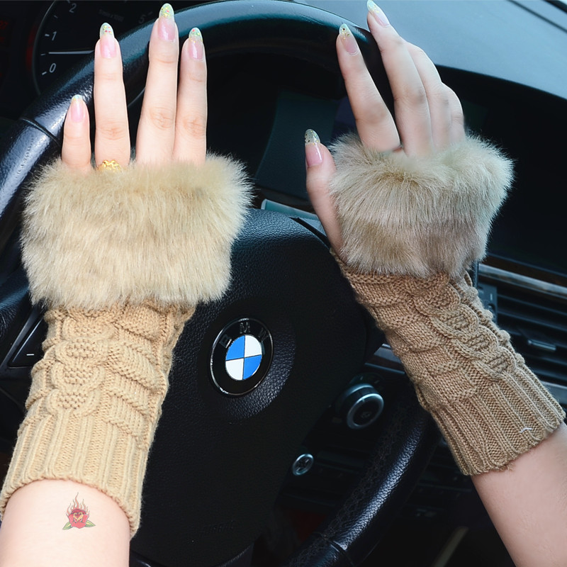 Women Girls Lady Winter Knitted Faux Fur Hand Wrist Warmer Fingerless Mitten Gloves 24 style Free Shipping(China (Mainland))