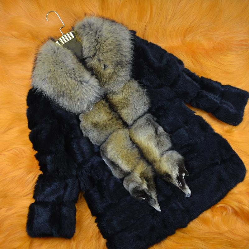 Real photographs real rabbit fur coat  with raccoon dog fur collar women winter rabbit fur coat Warm autumn&winter Overcoat