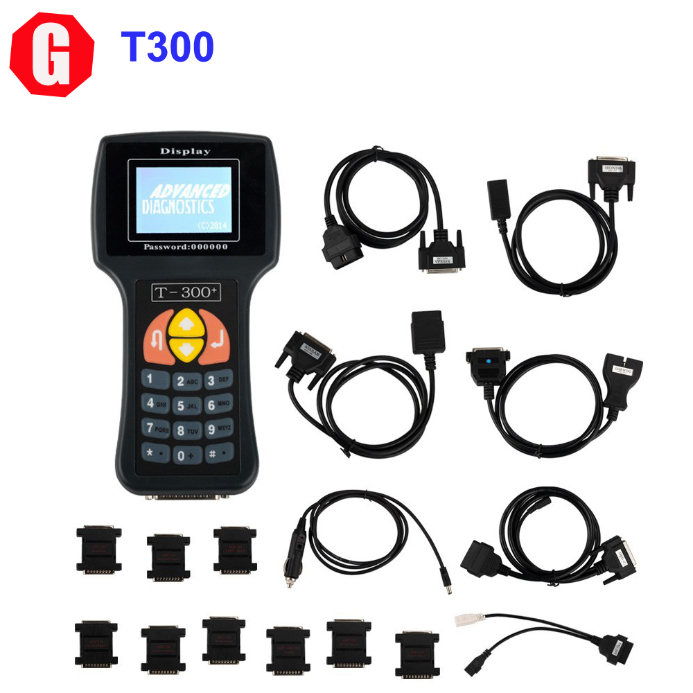 DHL Free! T300 Key Programmer V2015.02 T300 Chip Key Decoder Programmer Spainish Language Black Color T 300+ For Multi-Brand Car(China (Mainland))
