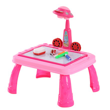 Cute Child Drawing Toys Practice Study Drawing Table KidsToys Learning Desk with UFO Appearance Projector Pattern for Children(China (Mainland))