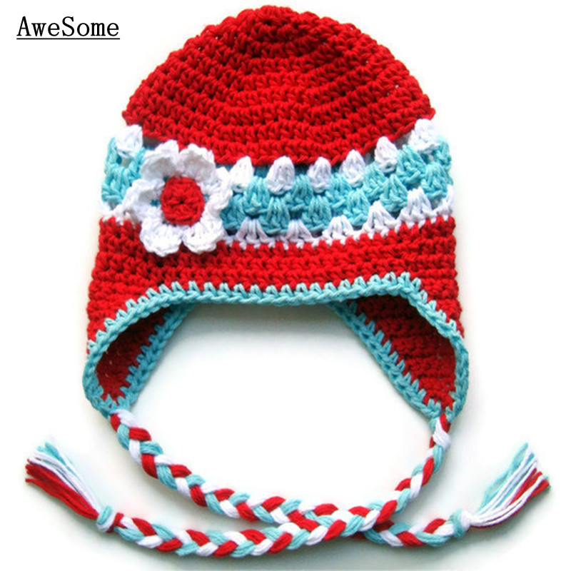 Red Ski Hat,Handmade Knit Crochet Baby Girl Earflap Hat with Flower Braids,Kids Warm Cozy Winter Hat,Infant Toddler Photo Prop(China (Mainland))