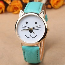 2015 Fashion GENEVA Dial Cat Watches Women Dress Watch charms Lady Casual Reloj Quartz Watches orologio