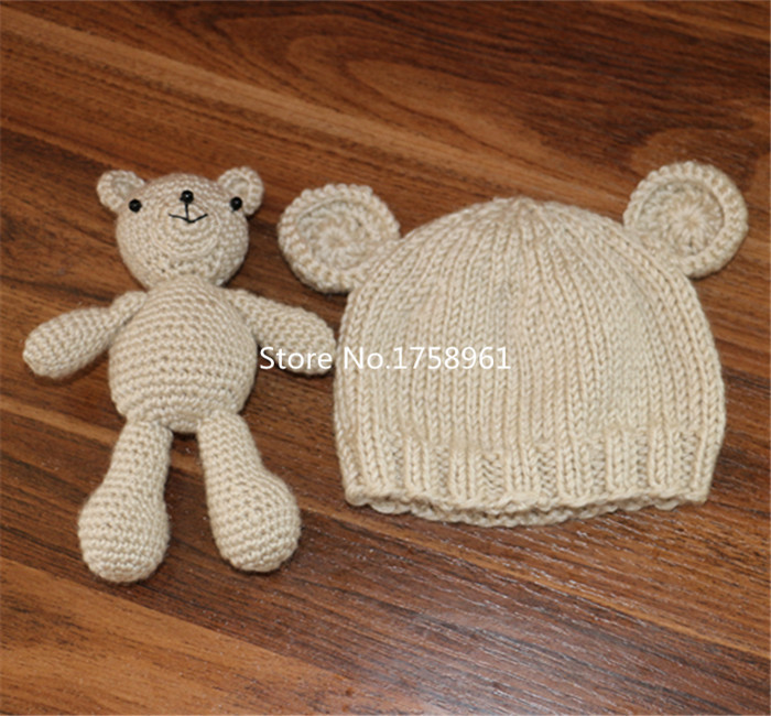 Hand Crochet Knitted Baby Hat Teddy Bear Bonnet Photography/Photo Prop , newborn knitting hats 0-3 months animal hat(China (Mainland))
