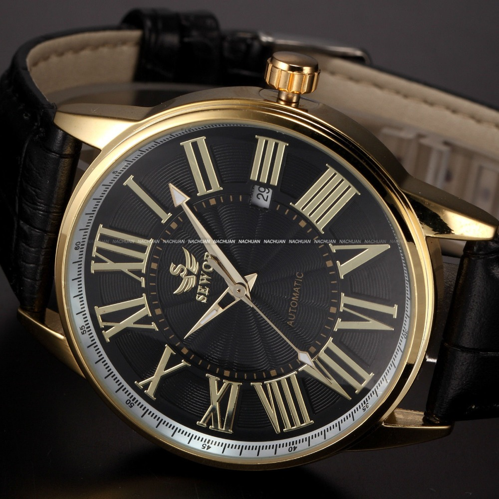 leather gold retro montre homme