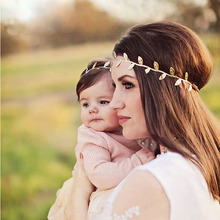 1 set 2016 Fashion Cute Mommy and Me Gold Silver Baby Girl Leaf Headbands hairband Hair Accessories