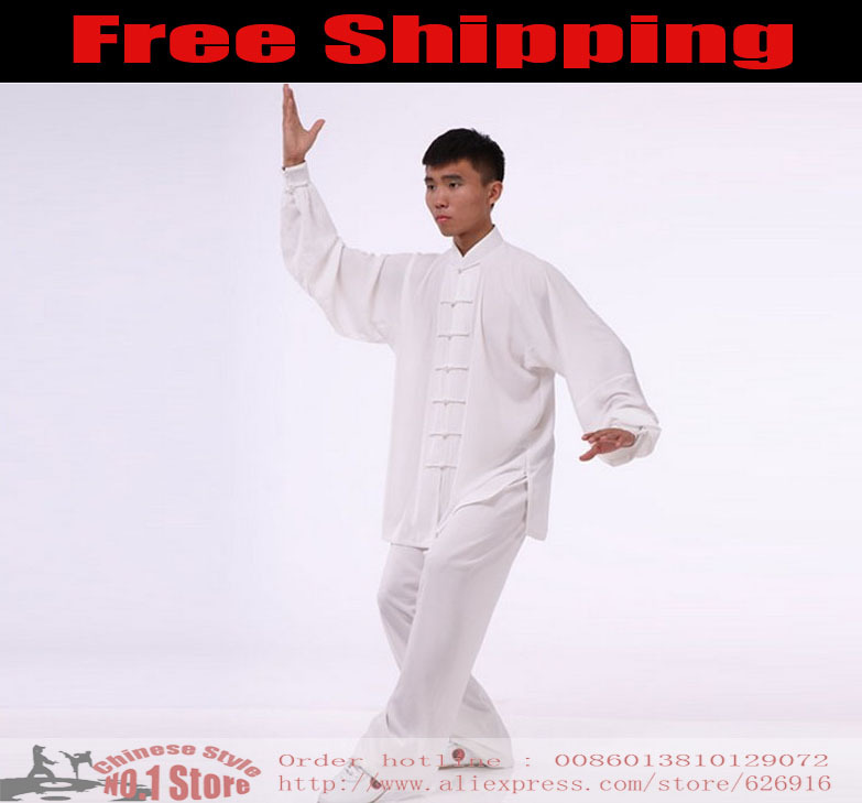 Customize Pure White Martial Arts Clothes Shaolin Wu Shu Outfit Kung Fu Tai Chi Uniforms Bruce Lee Outfit Wing Chun QiGong Suit(China (Mainland))