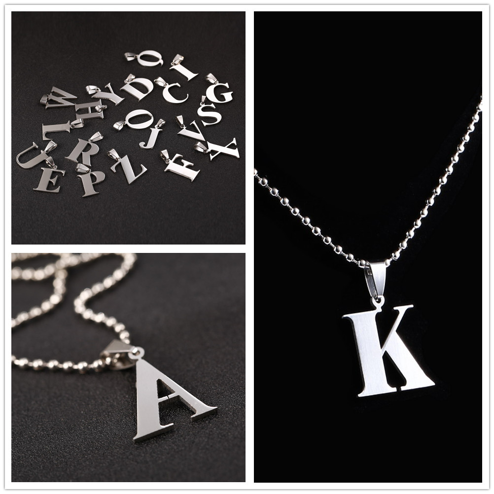 2016 New Design A-Z Letter Charm Pendant Necklaces for Men Ball Chain Necklace 26 Letters Pendant Necklace Stainless steel(China (Mainland))