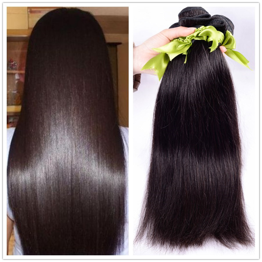 6A Unprocessed Queen hair Products 3 pcs Lot Straight Brazilian Virgin Hair Extensions Wholesale Natural Color 1B Free Shipping