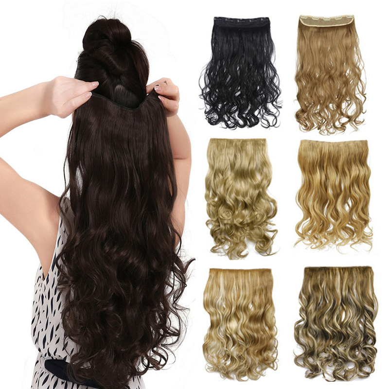 """US UK Free Shipping 17""""- 27"""" Curly Wave 3/4 Full Head Hair Extensions Clip-on Hairpiece 100% Real Natural Synthetic Fibre Hair A(China (Mainland))"""