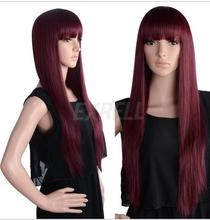 zhaoxia++01146@Q8@Fashion Women Lady Girls Wine Red Long Straight Hair Cosplay Party Prom Wig New - zhao hongxia's store