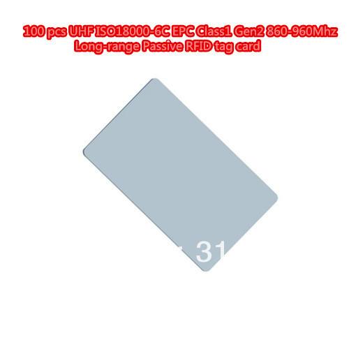 100 pcs UHF ISO18000-6C EPC Class1 Gen2 860-960Mhz Long-range Passive RFID tag card(China (Mainland))