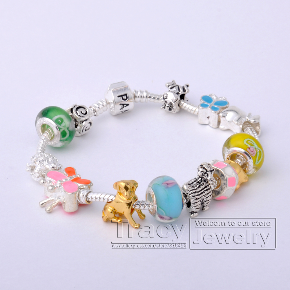 COME WITH BOX! European 925 Silver Love Chain Bracelet Women Animal Charm Beads DIY Jewelry PA1054 - Tracy store