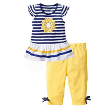 2015 New Girls Clothing Sets Baby Kids Clothes Suit Children Short Sleeve Striped T-Shirt +Pants roupas infantil meninas CF104(China (Mainland))