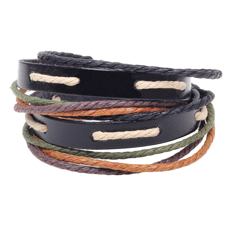 Multilayer Braided Bracelets Vintage Rainbow Color Rope Infinity Bracelet Multicolor Woven leather & Bangle - Sonia's store