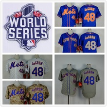 New York Mets 48 Jacob deGrom Jerseys 2015 New Embroidery Stitched Shirt Sports Dress Outlets Free Shipping Camisa(China (Mainland))