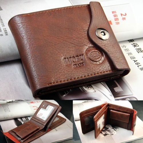 Men's Genuine Leather Bifold Wallet Purse Brown Credit/ID Card Holder Slim Gift(China (Mainland))