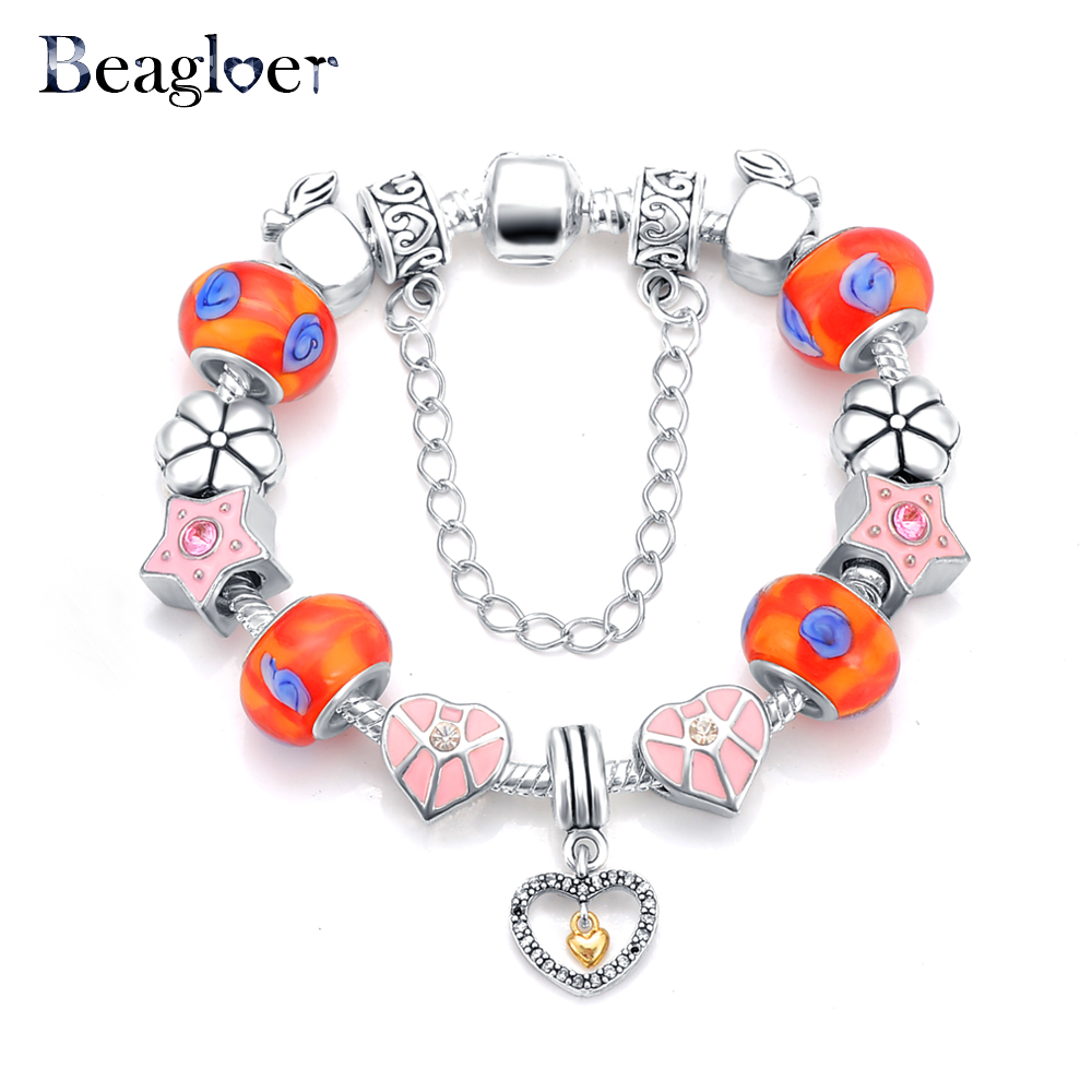 Beagloer Latest Heart Charm Beads Bracelet & Bangle Antique 925 Silver Snake Chain Bracelets For Women Love Bracelets PCBR0061(China (Mainland))