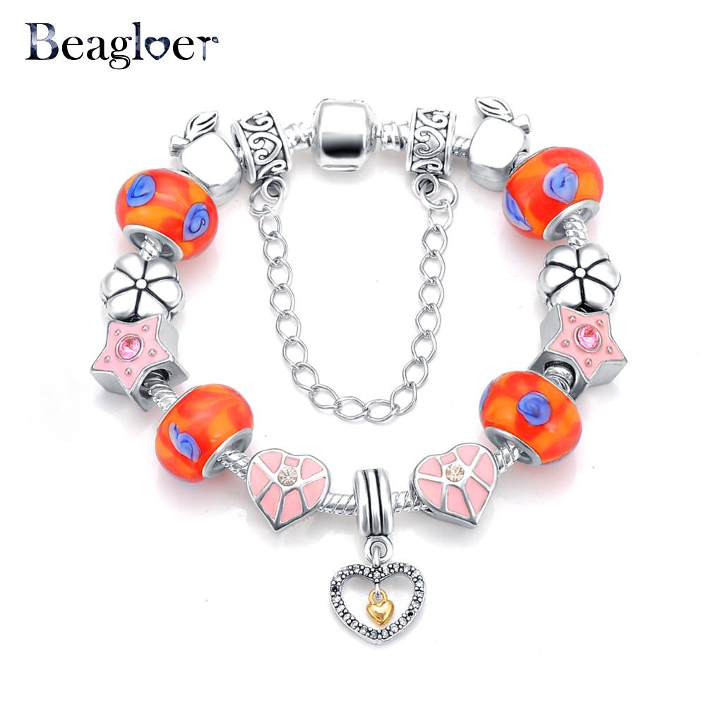 Beagloer Latest Heart Charm Beads Bracelet & Bangle Antique 925 Silver Snake Chain Bracelets For Women Love Bracelets PCBR0061(China (Mainland))