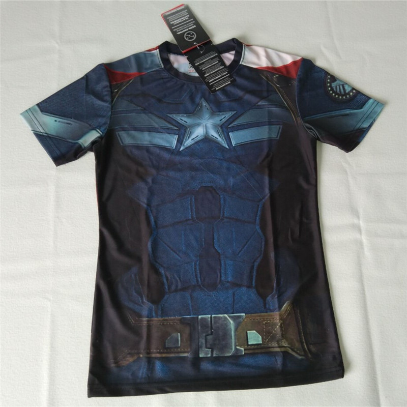Marvel Captain America 2 Superhero Lycra Compression Tights men T Shirts Men Fitness fashion breathable Tee Camisetas  -  Guangzhou Tongda Trade Co., Ltd. store