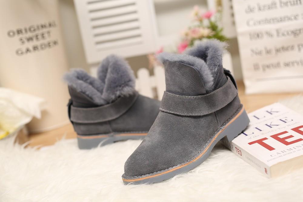 ซื้อ 2016ใหม่เสื้อผ้าแบรนด์ฤดูหนาวหนังแกะธรรมชาติขนผู้หญิงหิมะรองเท้าข้อเท้าหนังแท้ซิปอุ่นให้รองเท้าGN11