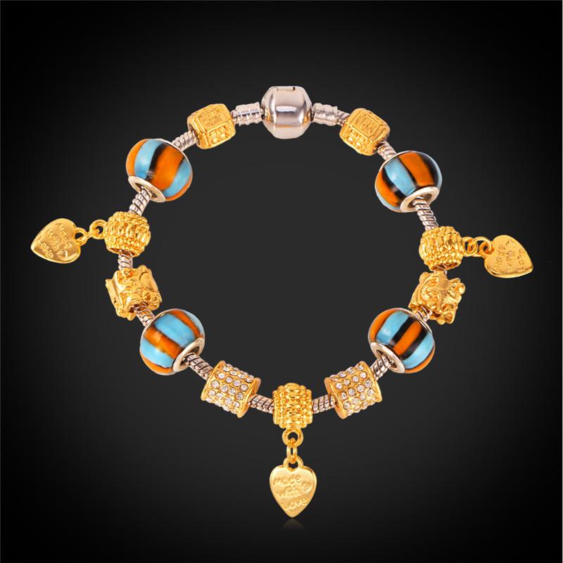 Bracelet Women 18K Gold Plated Heart Jewelry European Style Austrian Rhinestone Crystal Trendy 2015 New Charms Bracelets H127(China (Mainland))