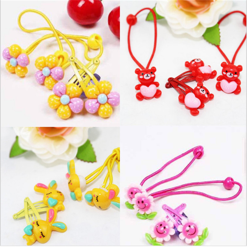 2016 Kawaii Baby Girls 2 Pcs Elastic Hairbands and 2 Pcs Hairclips Kids Accessories Resin Flower Hairpins for Girls(China (Mainland))