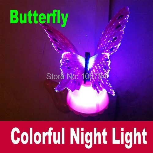 Colorful Fiber Optic Butterfly Nightlight LED Butterfly Night Light For Wedding Room Night Light For Children gift 10pcs/lot(China (Mainland))