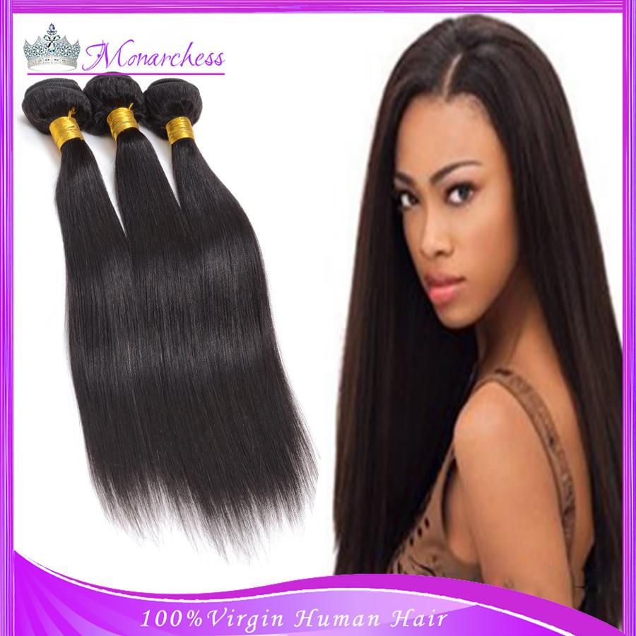 Cheap Brazilian Virgin Hair Straight Fastyle Hair Products Virgin Brazilian Straight Hair Human Hair Weave Bundles #1B 3PCS/Lot(China (Mainland))