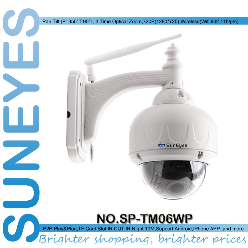 SunEyes SP-TM06WP 720P 1.0 MegaPixel HD PTZ IP Camera Wifi Wireless with Pan/Tilt/Zoom Outdoor Dome IP Network CCTV Camera(China (Mainland))