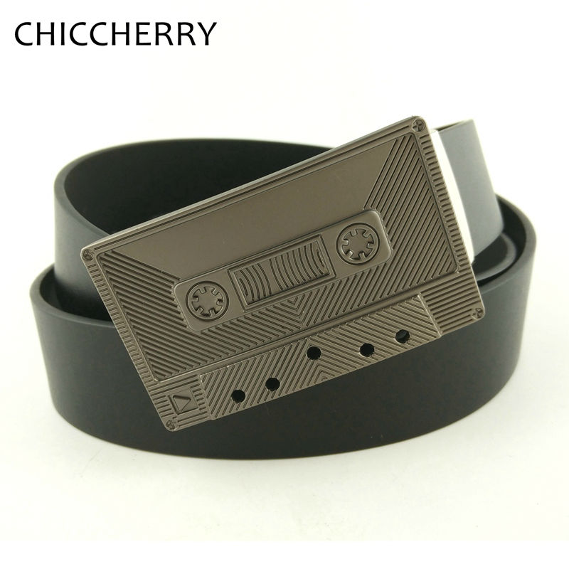New Men's Belt Luxury Brand Country Western Music Magnetic Tape Metal Belts Buckle Cintos Masculinos PU Leather Cinturon Hombre(China (Mainland))