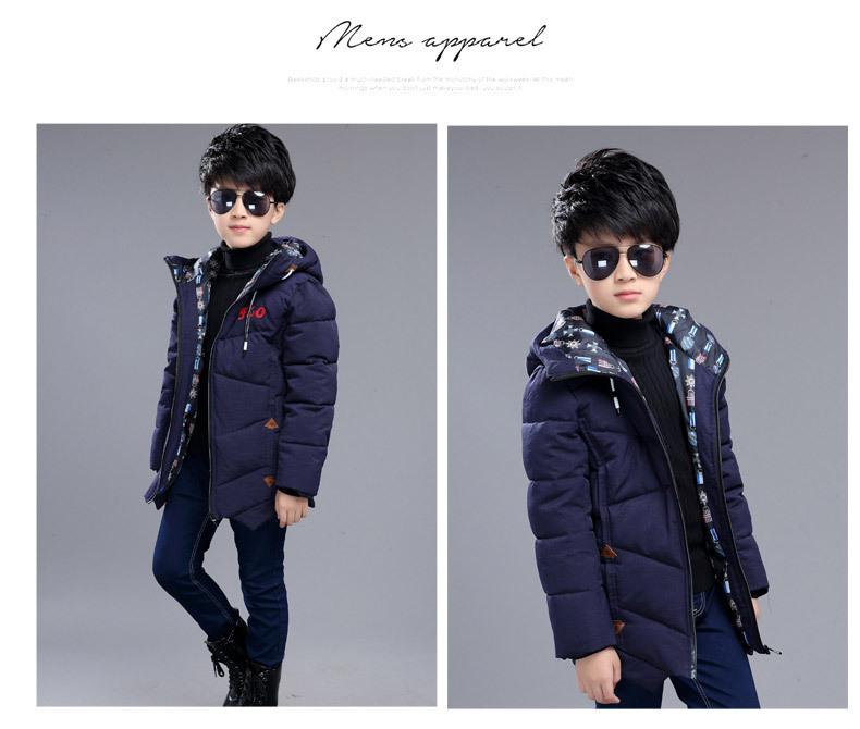 Скидки на 2016 Зима ребенок мальчиков твердые толстые дети хлопка куртка длинные тип windprood одежда пальто