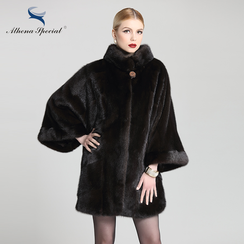 Athena Special 2016 Black Color With Batwing Sleeve Mink Fur Coat Women Genuine Fur Female Natural Real Mink Coat For Promotion(China (Mainland))