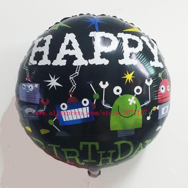 Lucky 50pcs/lot 18 inch Robot Happy Birthday Balloon Birthday Party Decorations Baloons Kids Classic Toys Foil Helium Balloons(China (Mainland))