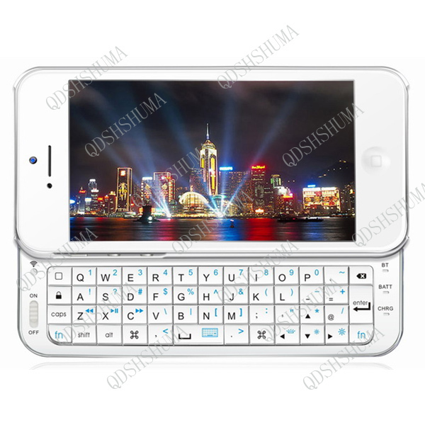 BLACK WHITE Wireless Bluetooth Slide Keyboard keypad with Hard Shell Back Case Cover for iPhone 5 5G  free shipping