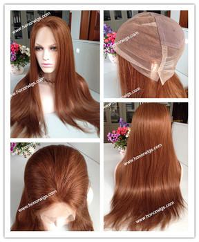 24 дюйм(ов) шелковый прямо средней плотности размер customzie светло-коричневого цвета полный парик шнурка #30 в наличии на складе парики